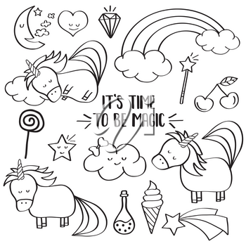 Doodle items collection with unicorns and other fantasy magical elements. For coloring. Vector