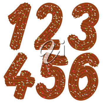 Tempting tipography. Font design. Icing letter. Sweet 3D numbers 1.2.3.4.5.6. of the chocolate cream and candy. Vector