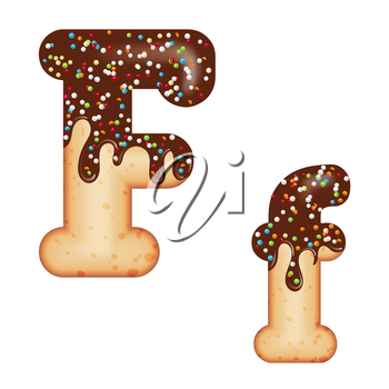 Tempting typography. Font design. Icing letter. Sweet 3D donut  letter F glazed with chocolate cream and candy. Vector