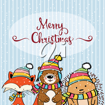 Doodle Christmas card with funny dressed animals, fox, hedgehog and bear