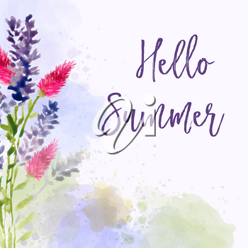 Hello summer. Watercolor banner with flowers