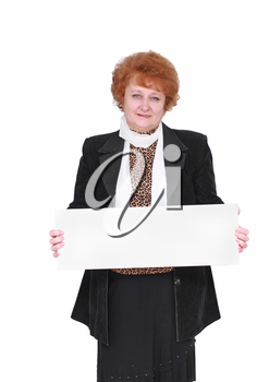 Senior lady standing with blank card. Isolated over white