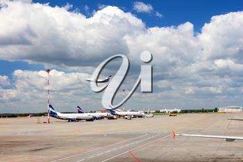 Landscape of airfield  in Airport.Moscow