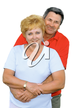 Elderly couple embrace each other . Isolated over white.