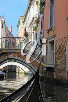 Classic view of Venice with canal and old buildings, Italy