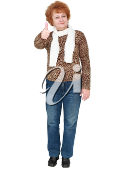 Senior lady standing showing thumbs up. Isolated over white