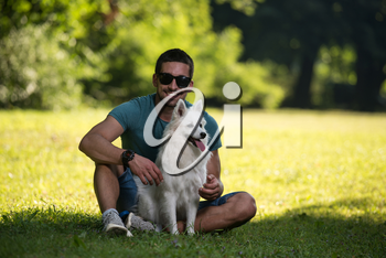 Man And German Spitz Sitting In The Park - Together Enjoying The View - Playing Around