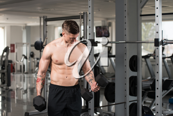 Young Athlete Working Out Biceps In A Gym - Dumbbell Concentration Curls