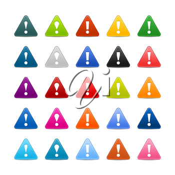 Royalty Free Clipart Image of Triangular Exclamation Mark Icons