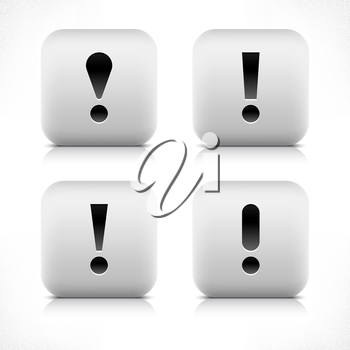 Stone web 2.0 button exclamation mark symbol sign. White rounded square shape with black shadow and gray reflection on white background