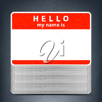 Red color name tag HELLO my name is. Pile blank stickers with drop gray shadow on gray background. Copy space for text