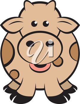 Royalty Free Clipart Image of a Brown Cow