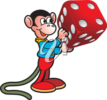 Royalty Free Clipart Image of a Monkey Playing a Game