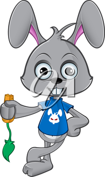 Royalty Free Clipart Image of a Rabbit Eating a Carrot