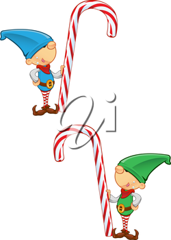 Royalty Free Clipart Image of Elves With Candy Canes