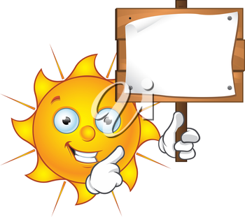 Royalty Free Clipart Image of a Sun With a Sign