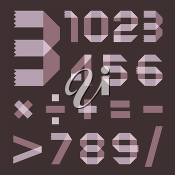 Font from lilac scotch tape - Arabic numerals (0, 1, 2, 3, 4, 5, 6, 7, 8, 9).