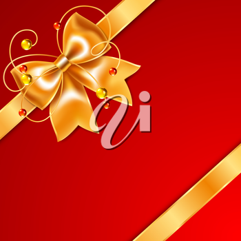 Golden bow of silk ribbon, isolated on red background. Vector illustration saved in file format EPS v. 10