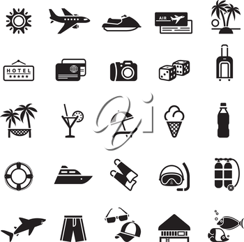 Signs. Vacation, Travel & Recreation. First set icons in black