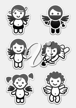Stickers cupids. set icons, collection angels signs