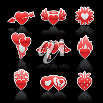 set icons of Valentine's day red hearts