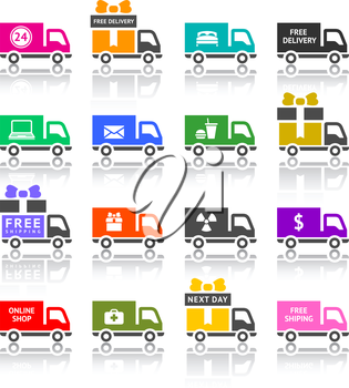 Set of truck colored icons, vector illustration