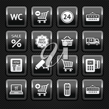 Set pictograms supermarket services, shopping Icons on metal background