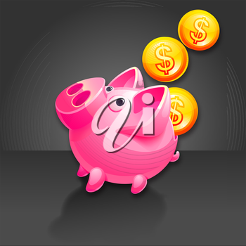 Piggy Bank and falling Money. Pig vector icon. Black background