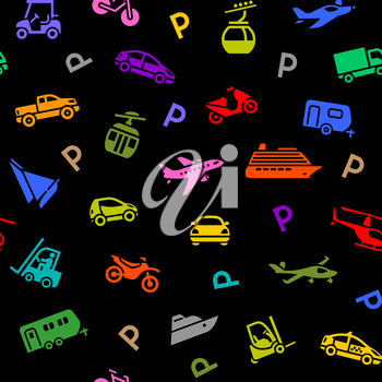 Seamless backdrop, transport colorful icons on a black background, wrapping paper. Vector illustration