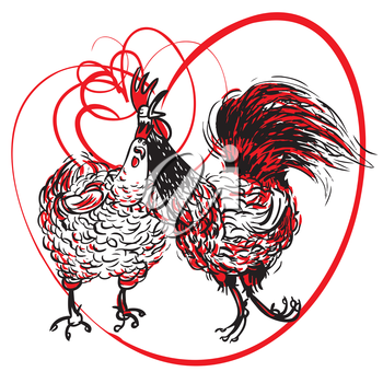 Love the Cock and Hen, template, postcard