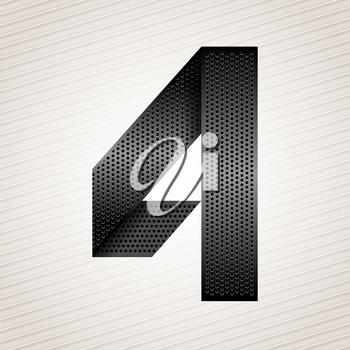 Number metal ribbon, 4, four. Striped background
