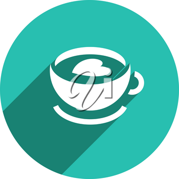 Flat food white icon on a colored circle