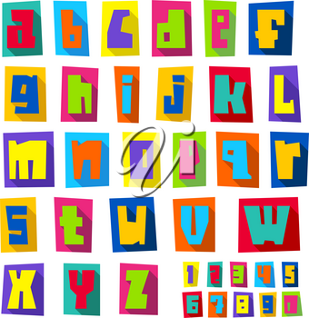 New font, cut colorful letters on a colored paper sheets with shadow, lower case