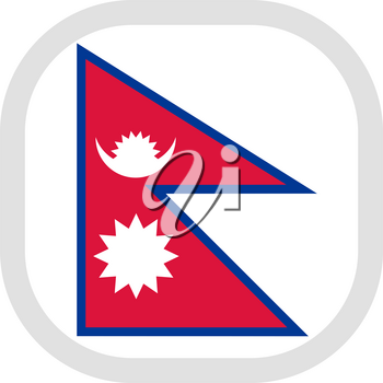 Flag of Nepal. Rounded square icon on white background, vector illustration.
