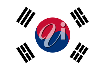 Flag of South Korea. Rectangular shape icon on white background, vector illustration.