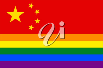 Chinese Gay vector flag or LGBT