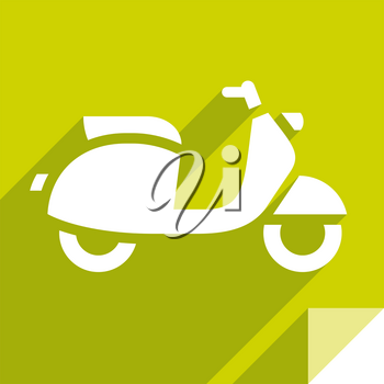 Scooter, transport flat icon, sticker square shape, modern color