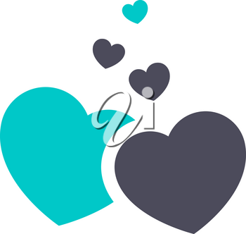 Hearts icon, gray turquoise icon on a white background