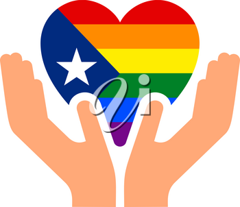 Puerto Rico pride flag, in heart shape icon on white background, vector illustration