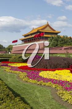 Forbidden City Temple with colorful flowers with sky in background