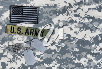 US flag, military branch and ID tags for Memorial, 4th of July and Labor Day holiday