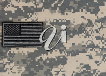 Military clothing and US flag background for Memorial, 4th of July and Labor Day holiday