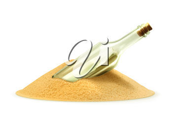 Bottle with a letter in the sand, vector illustration