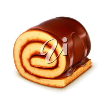 Chocolate roll cake, detailed vector
