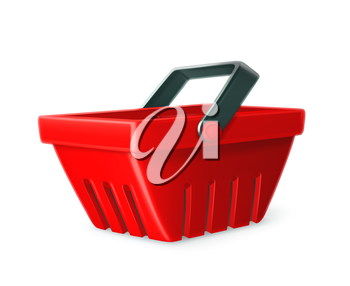 Red shopping basket vector icon