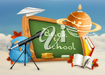 Back to school, astronomy lessons, studying and teaching, education and knowledge, vector illustration on white and blue background