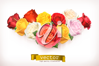Bouquet of roses, vector illustration isolated on white
