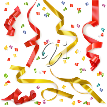 Festive ribbon, set of vector elements isolated