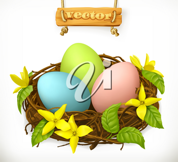 Bird nest, Easter eggs and spring flowers. 3d vector icon