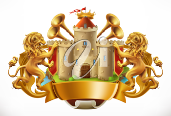 Coat of arms. Castle and lions. 3d vector icon